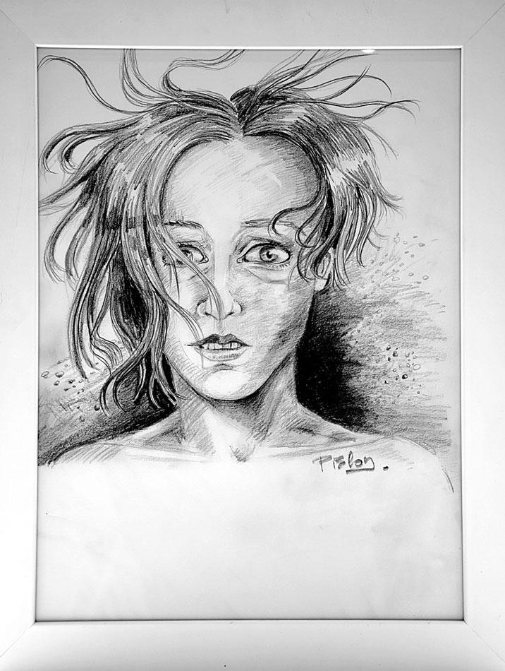 Moi sous l'eau - Pauline Eloy - Crayon - Format A3
