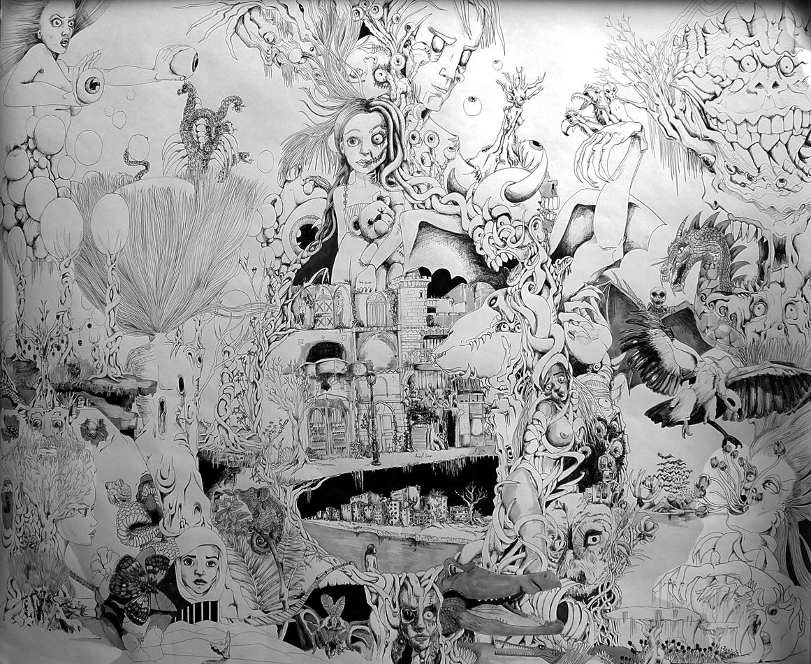 Insomnie -Stylo bille - 130 x 150 cm
