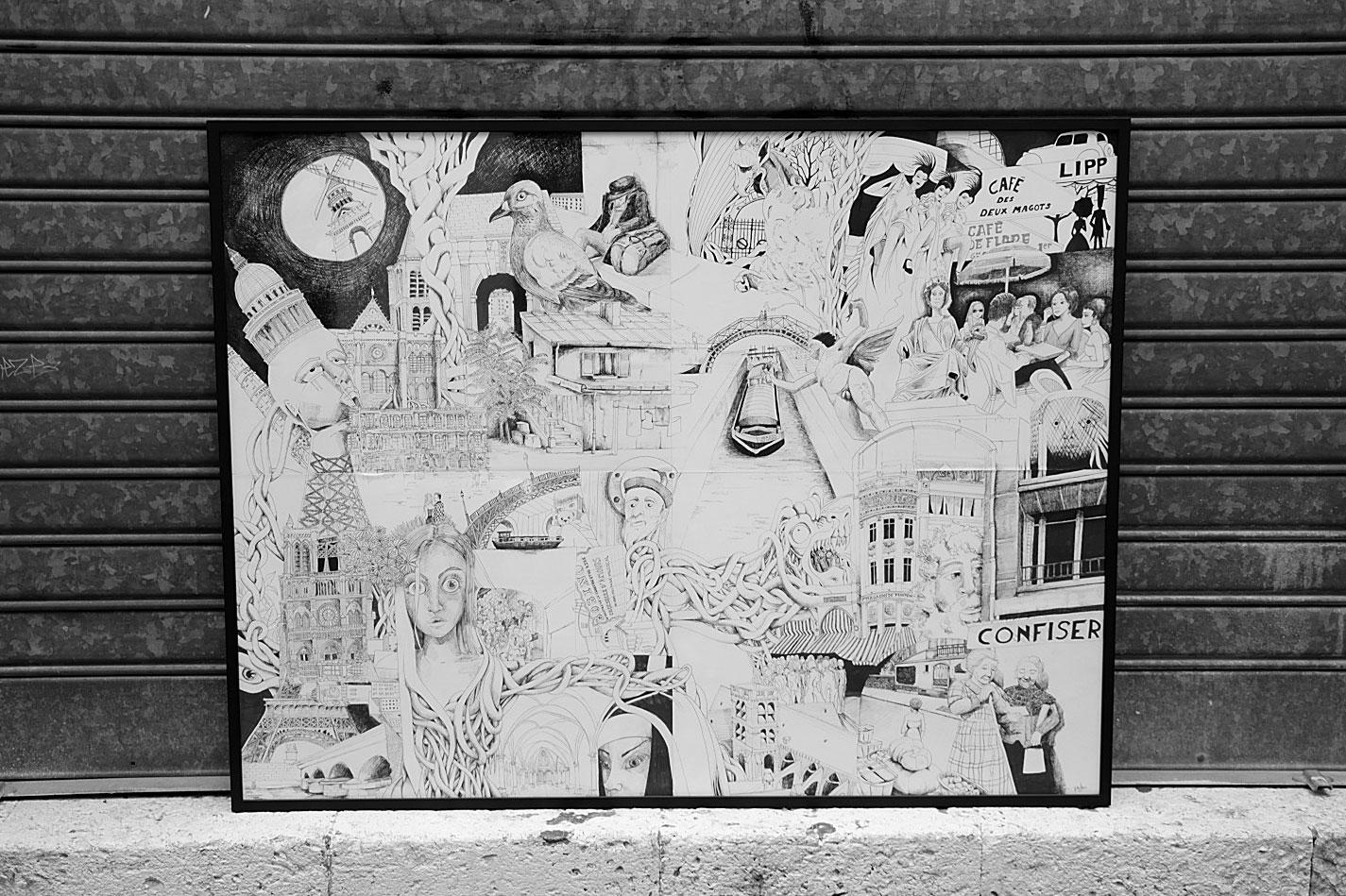 Paris passé - Pauline Eloy - Feutre fin -  130 x 100 cm