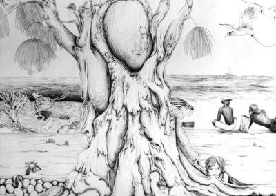Carnet de voyage – Pauline Eloy – Feutre fin noir – 195 x 150 cm