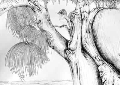 Carnet de voyage, détail– Pauline Eloy – Feutre fin noir – 195 x 150 cm