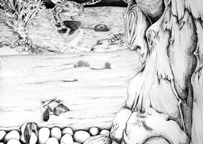 Carnet de voyage, détail – Pauline Eloy – Feutre fin noir – 195 x 150 cm