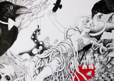 Corbeau – Pauline Eloy – Feutre fin noir et acrylique – 50 x 65 cm