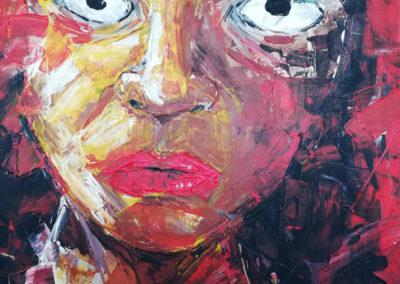 Femme couteau -Huile sur toile - 80 x 99 cm