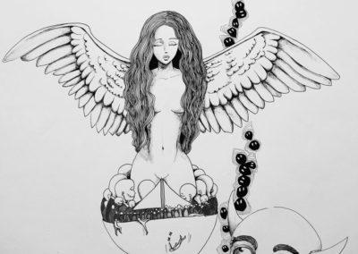 Femme solaire – Pauline Eloy – Feutre fin – 65 x 50 cm