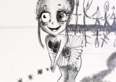 Danseuse macabre - crayon gras - A4