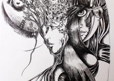 Tatoo - Pauline Eloy - feutre fin noir - A4