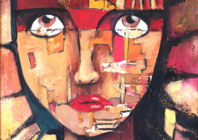 Regard - Huile et collage - 101 x 74 cm