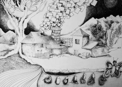 Rompre la chrysalide -Pauline Eloy – Feutre fin – 50 x 65 cm