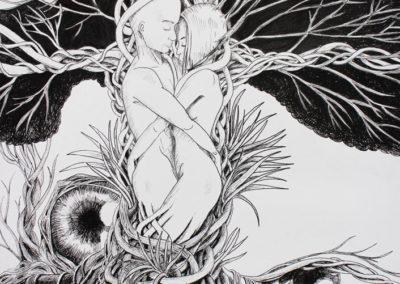 Tendresse - Feutre fin noir - 30 x 40 cm